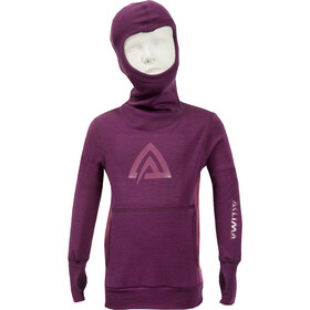Aclima WarmWool Hood Sweater Ungdomar grape wine/damson